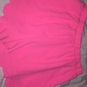 Hot Pink scalloped edge shorts